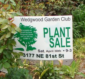 2016 Wedgwood Garden Club Plant Sale sign