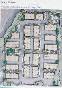 Site plan of the townhouse development for 2101 NE 88th Street. NE 88th Street is at the top of the map. The top left corner is Lake City Way NE. This drawing shows the site plan of how the townhouses will be arranged, and the circulation pattern of the driveways.