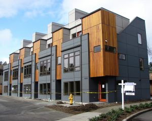 Townhouses on 38th Ave NE are gradually replacing low-rise apartment buildings.