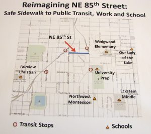Map showing the Reimagining NE 85th Street project