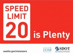 Speed limit 20 is plenty sign