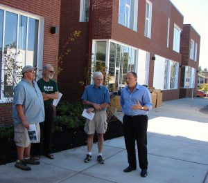School tour visitors (left to right): Peter Zimmerman and Dass Adams, officers of the Wedgwood Community Council; 46th District Representative to the State Legislature Gerry Pollet and State Senator David Frockt.