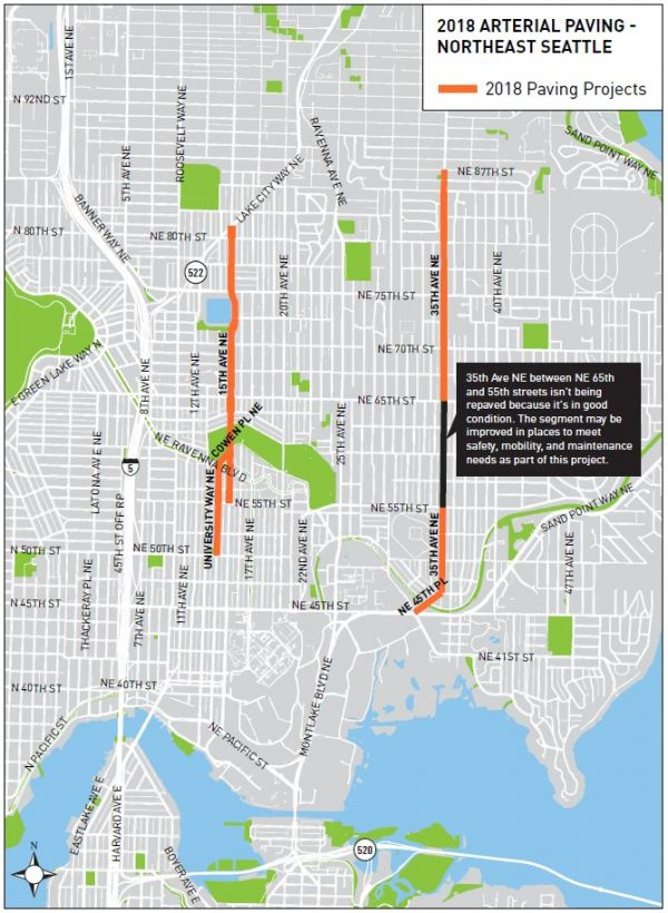 2018 arterial paving schedule for northeast Seattle