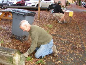 Park clean-up and publicity table