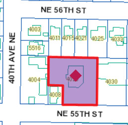 Location of the proposed new building at 4020 NE 55th Street. The Metropolitan Market is on the south side of the street.