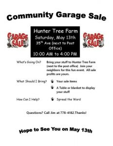 Community Garage Sale at Hunter Tree Farm - May 13