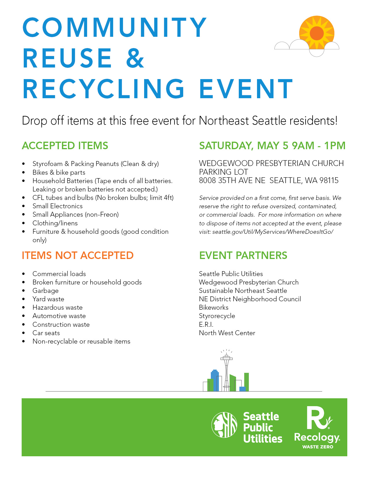 Community Reuse Recycling Event Saturday May 5 From 900 Am 100 Pm Wedgewood Presbyterian Church Parking Lot 8008 35th Ave NE Seattle WA 98115